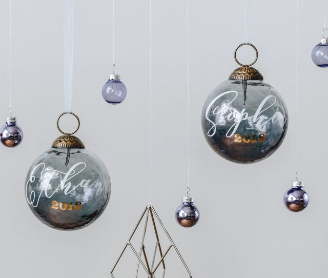 Personalized Christmas Ornaments Smoked Silver Ornaments Personalized Ornament Personalized Christmas Gifts Minimalist Ornament