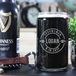 Engraved Beer Can Glass Groomsmen Beer Can Groomsmen Beer Etsy