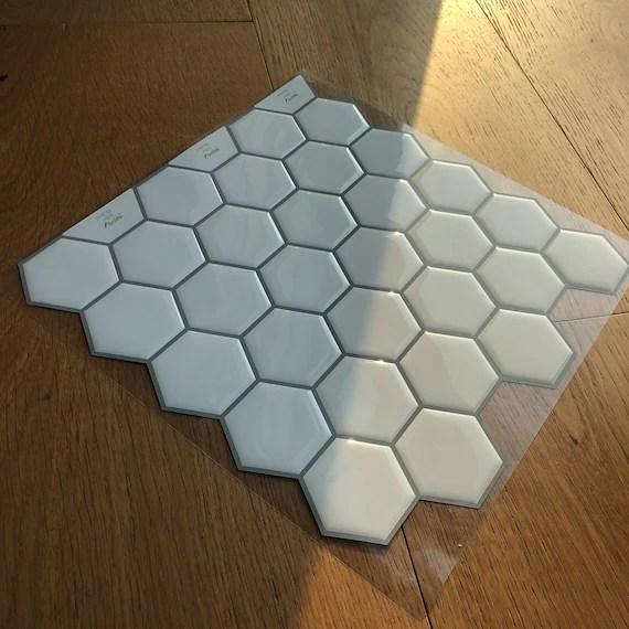 funlife white hexagon peel and stick backsplash tile etsy