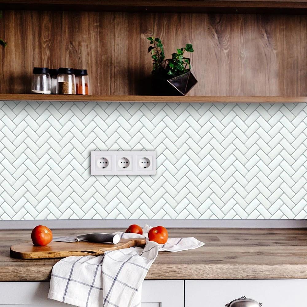 funlife peel and stick white herringbone tile backsplash decals rv decal kitchen bathroom waterproof heat resistant