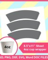 4oz Paper Cup Wrapper Template Ice Cream Cup Wrapper Psd Etsy