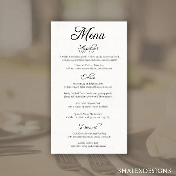 Printable Editable Wedding Menu Template Photoshop Psd Instant Download