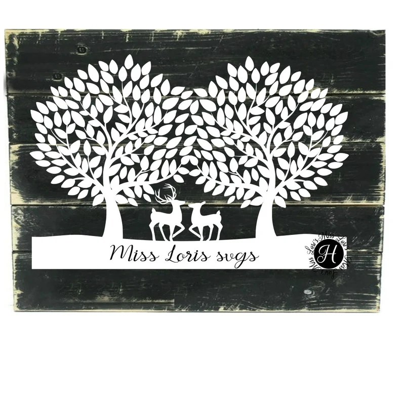Download Trees Buck and doe Guest book SVG DFX EPS png Love svg   Etsy