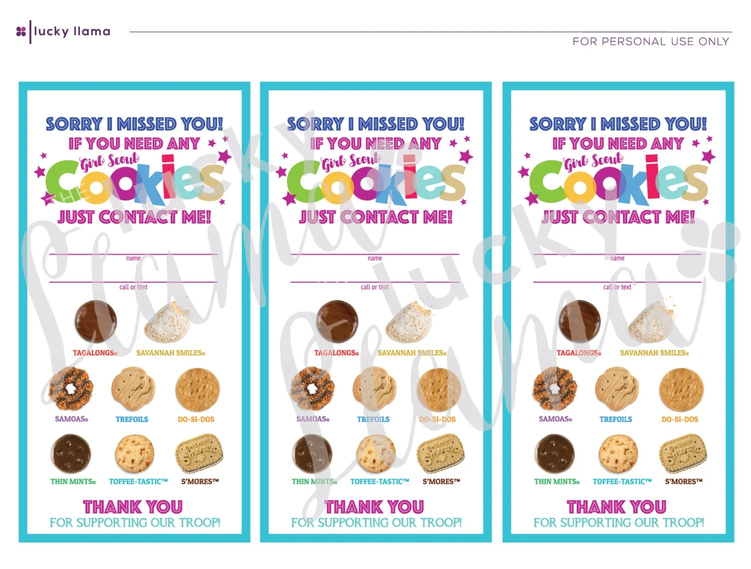 Lbb Girl Scout Cookie Door Signs Sorry We Missed You