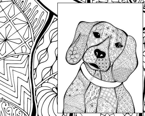 zentangle dog colouring page animal colouring zentangle  etsy