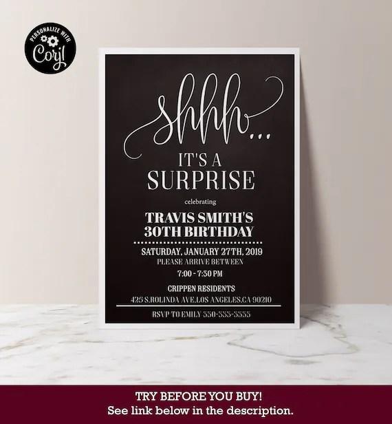 Surprise 30th Birthday Invitation Mens Birthday Party Etsy