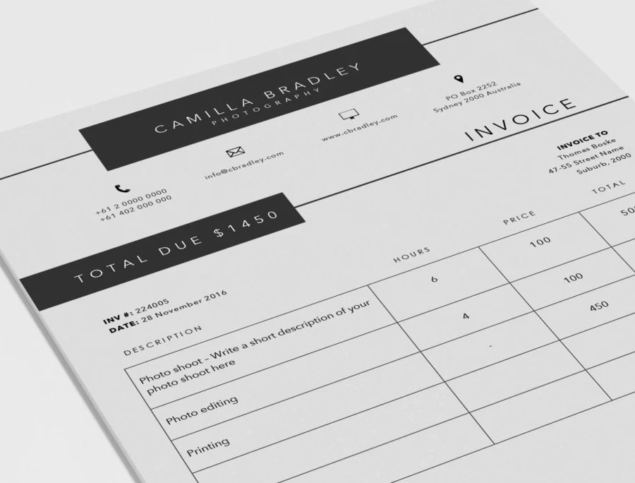 HD Decor Images » Photography Invoice template Invoice design Receipt   Etsy Photography Invoice template   Invoice design   Receipt template   MS Word  and Photoshop invoice