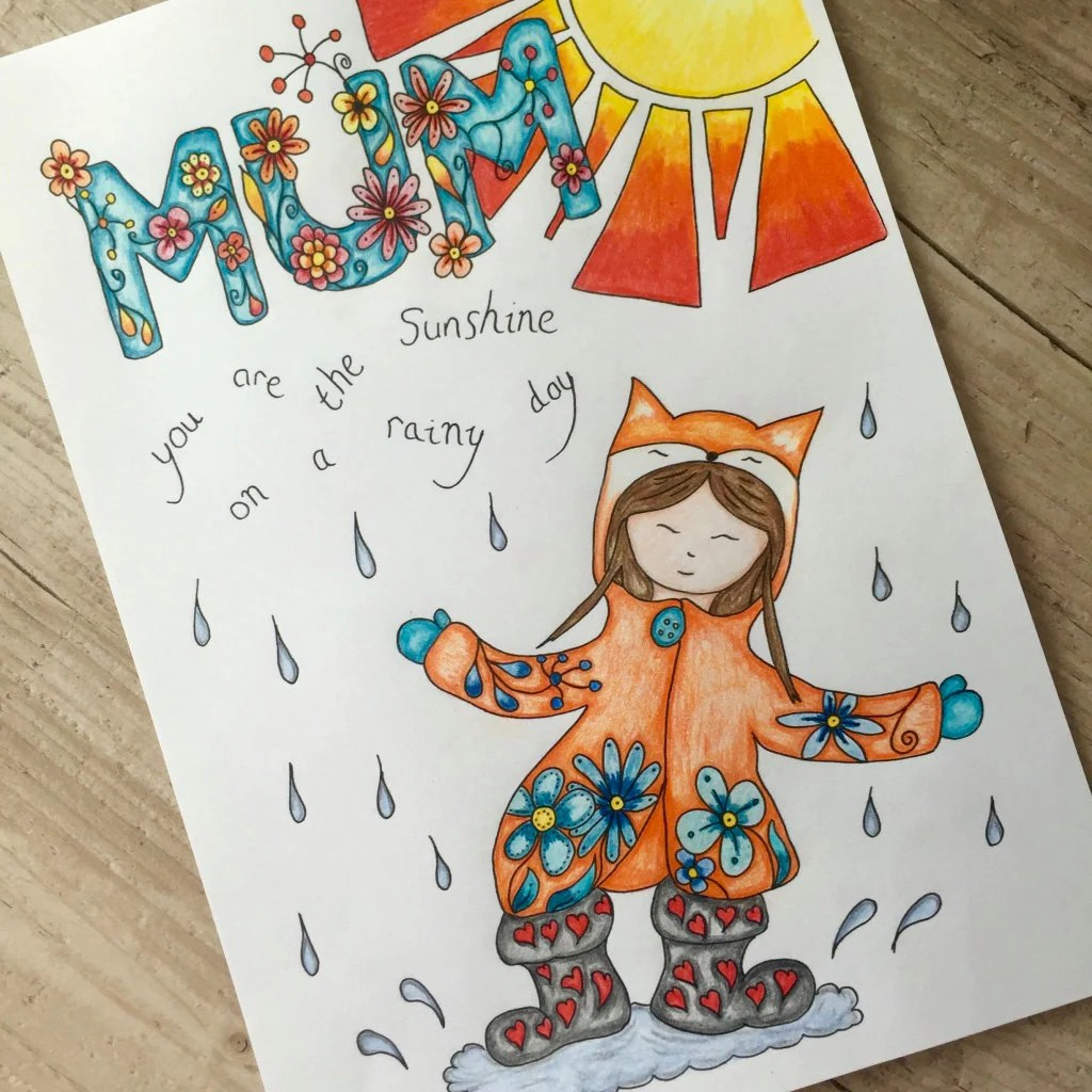 Mum Sunshine On A Rainy Day Colouring Pages Digital