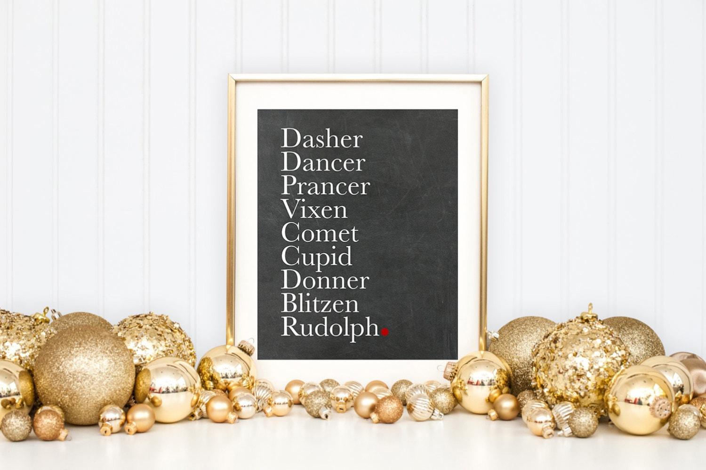 Christmas Reindeer Names Printable Art Print Deer