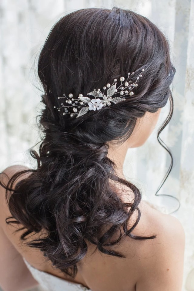 bridal hair comb bridal pearl headpiece bridal hair piece crystal leaf hair comb wedding hair comb leaf headpiece leaf hair piece