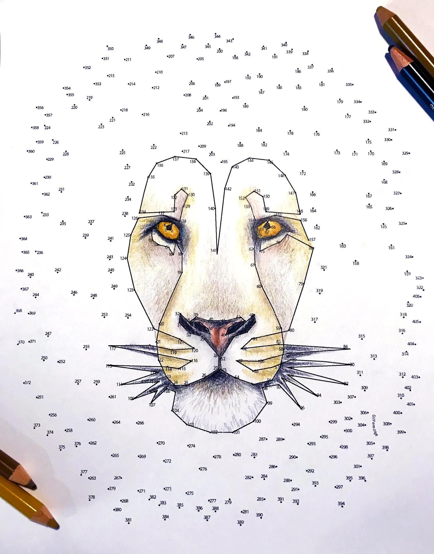 Lion Extreme Dot To Dot Activity And Coloring Page