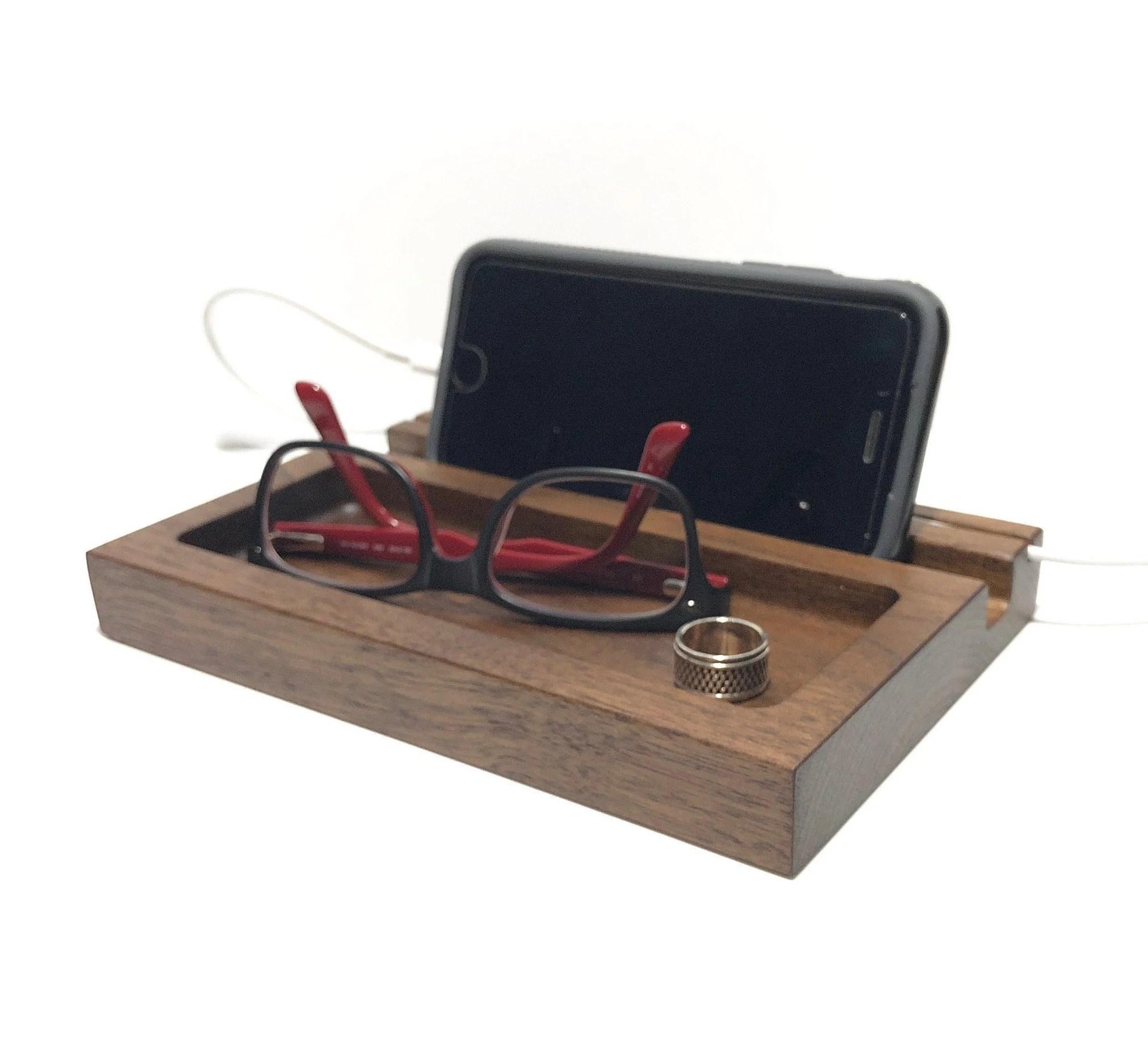 Walnut Phone Docking Station Charging Station Nightstand