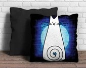 White Cat on dark blue Cu...