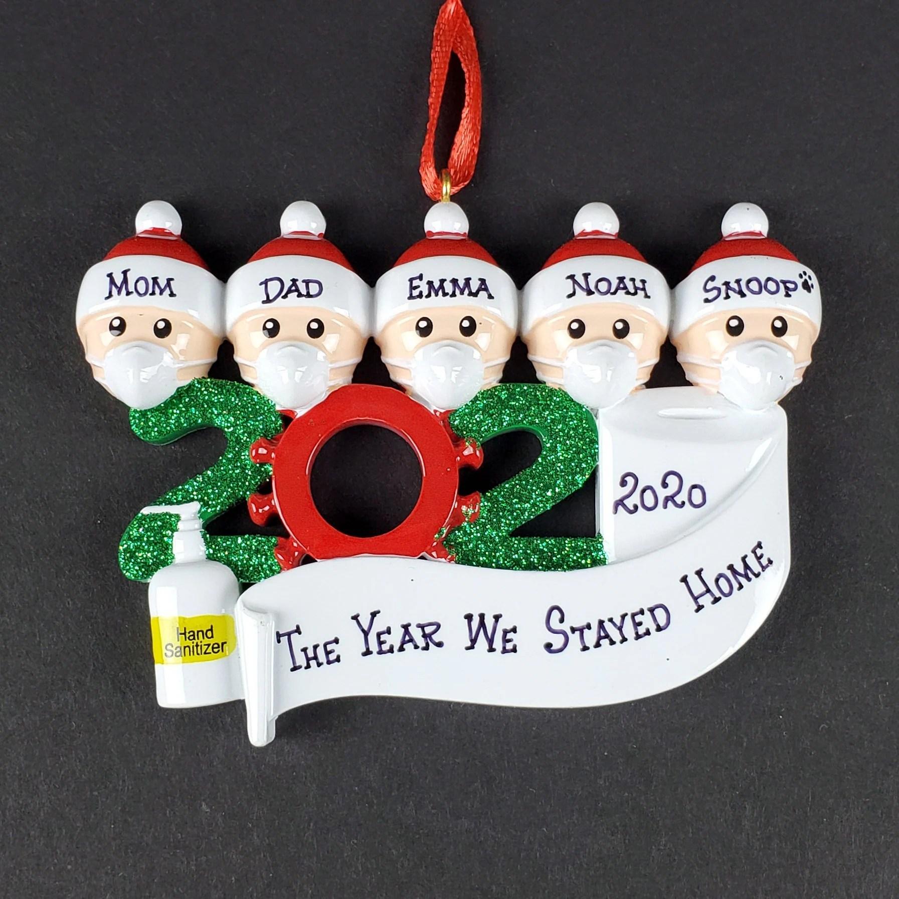 Corona Christmas Ornament 2020 Family Personalized Tree Decor Family of 5