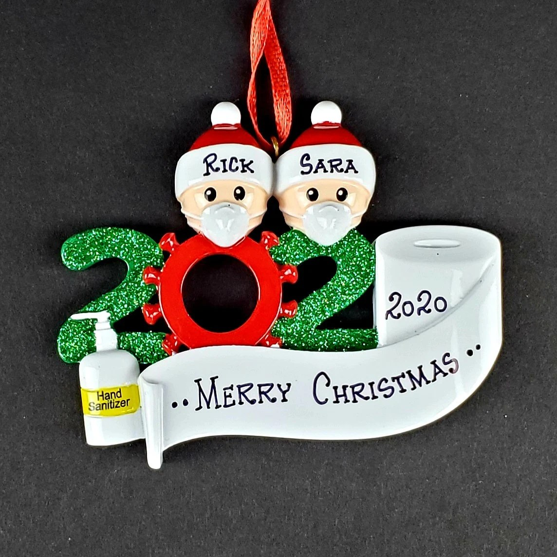 Corona Ornament 2020 Pandemic Quarantine Personalized Family Family of 2