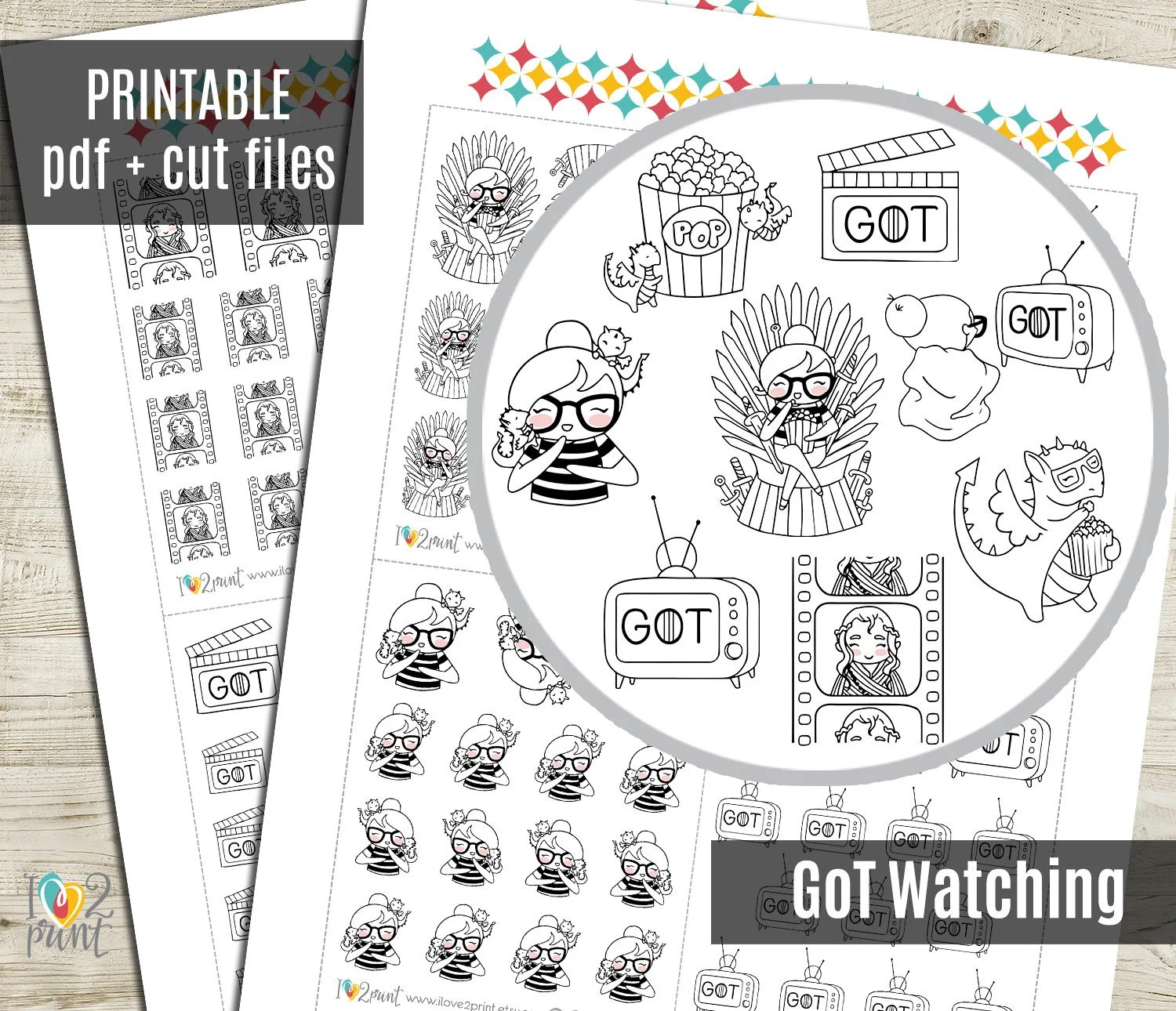 Planner Girl Got Watching Planner Stickers Printable Etsy