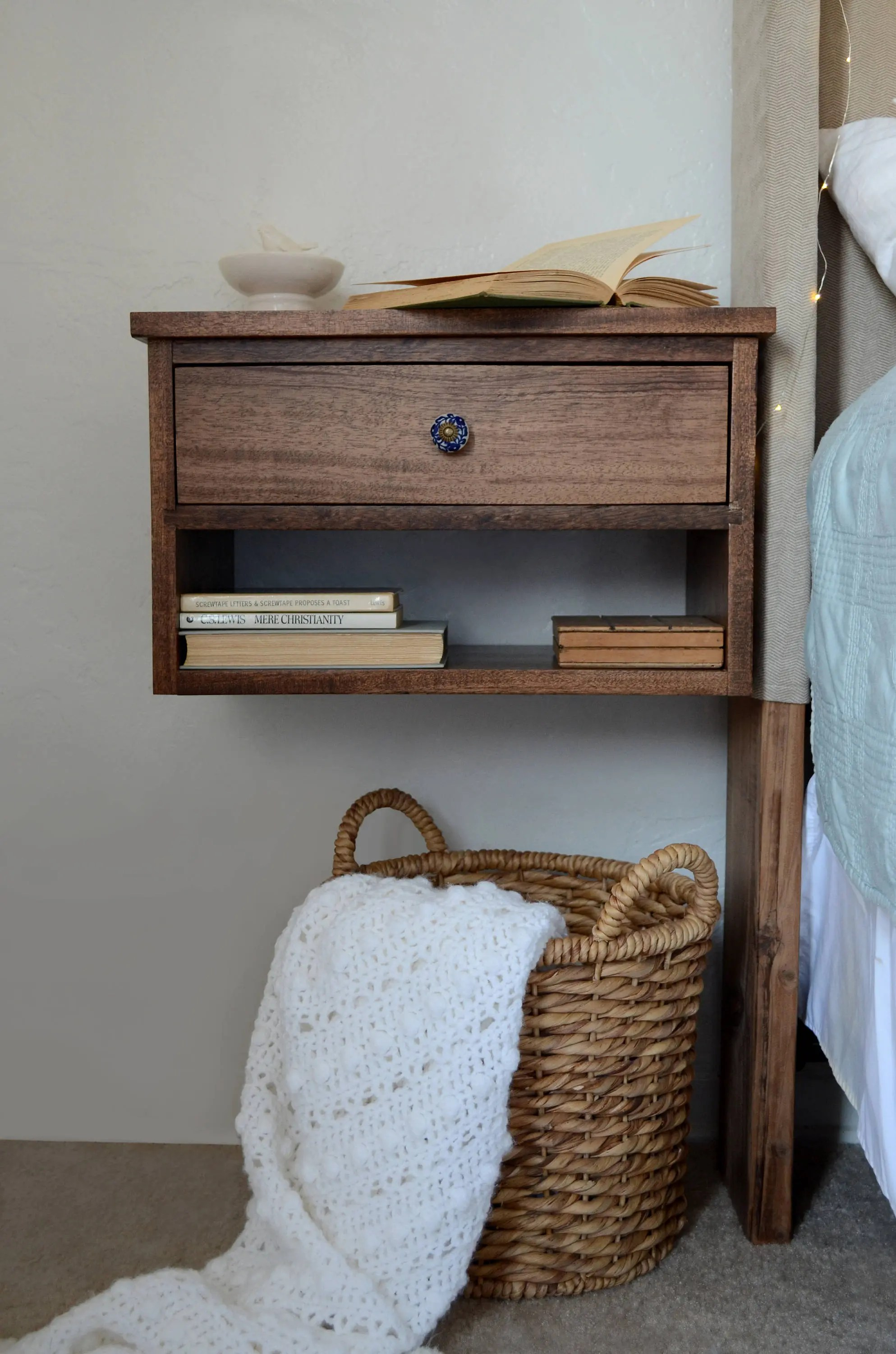 Floating Nightstand Bedside Table Wooden Nightstand Wood Side Table Free Shipping