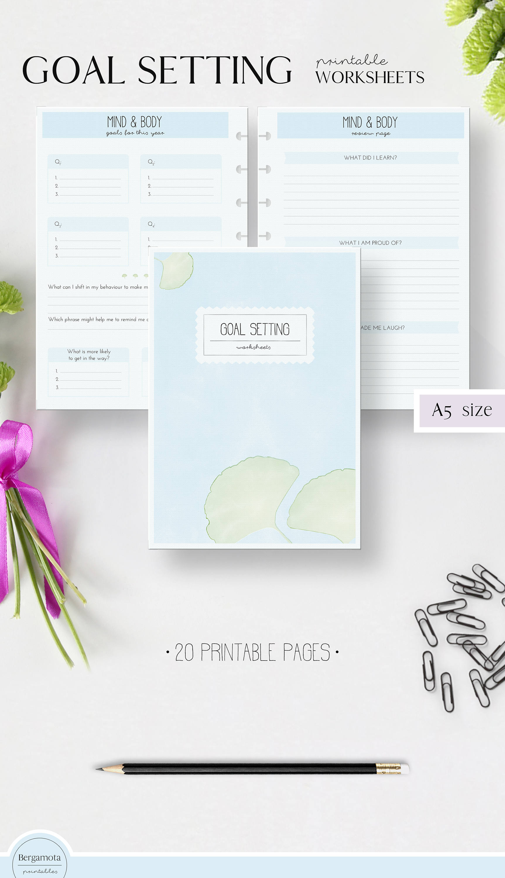 Goal Setting Worksheets 20 Printable Planner Pages A5