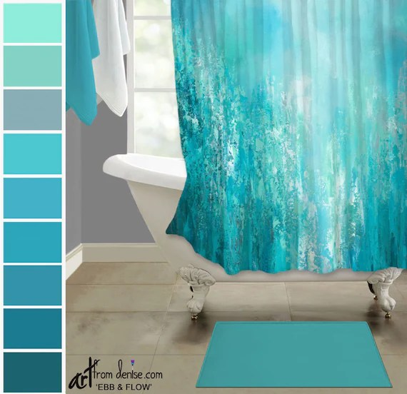 aqua gray and teal shower curtain abstract fabric shower stall decor for green blue master bathroom or guest bath
