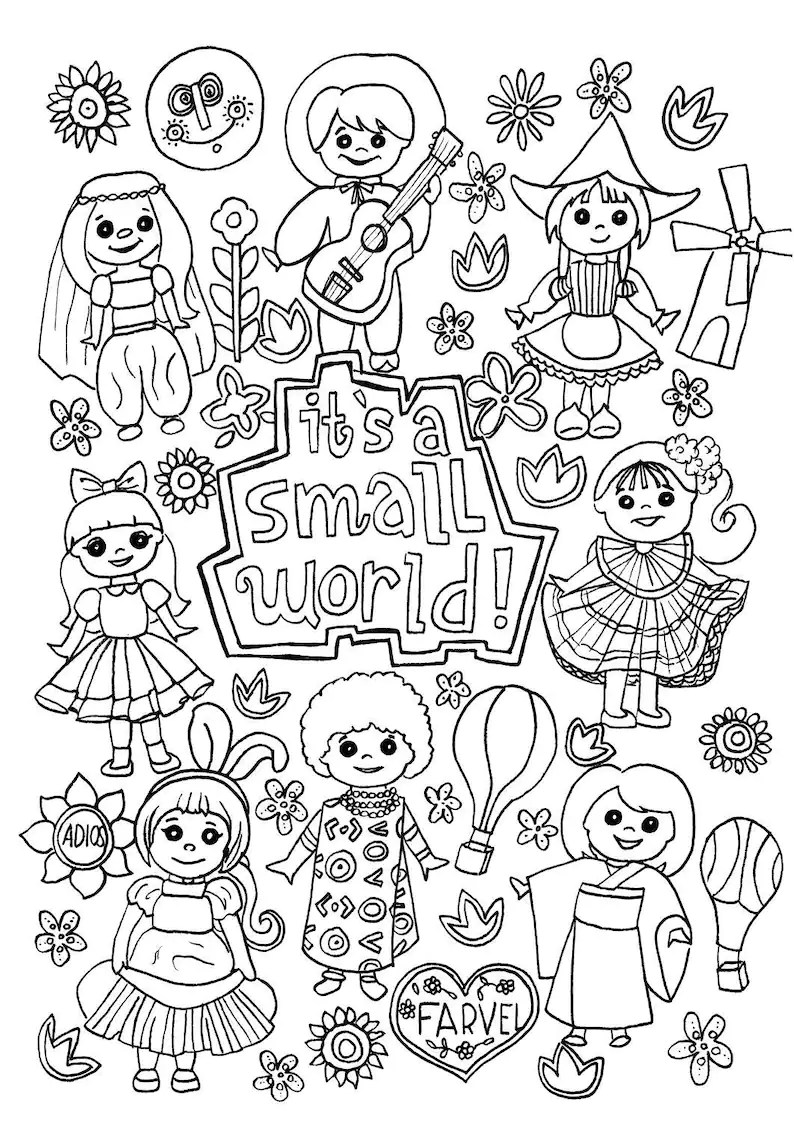 Its a Small World Coloring Page Digital Download Disney   Etsy   free coloring pages for adults disney