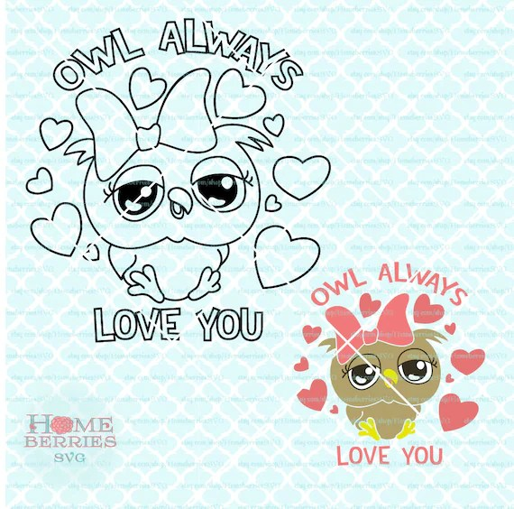 Download Owl Always Love You svg Coloring Page svg Girl Owl svg | Etsy