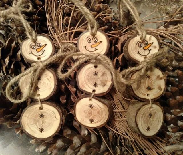 Wood Burned Snowman Christmas Ornaments Stacked Snowman Ornaments Gift Tags Pine Wood Slices
