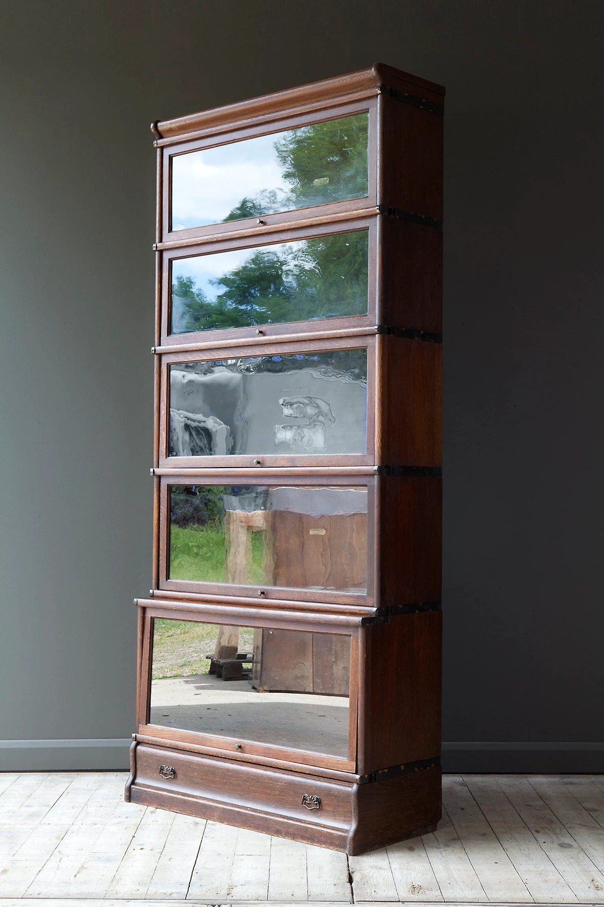 Bookcase Stacking By Oak Globe Wernicke Five Sections And