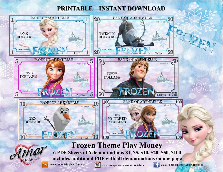 Play Money Frozen Frozen Party Frozen Printable Frozen