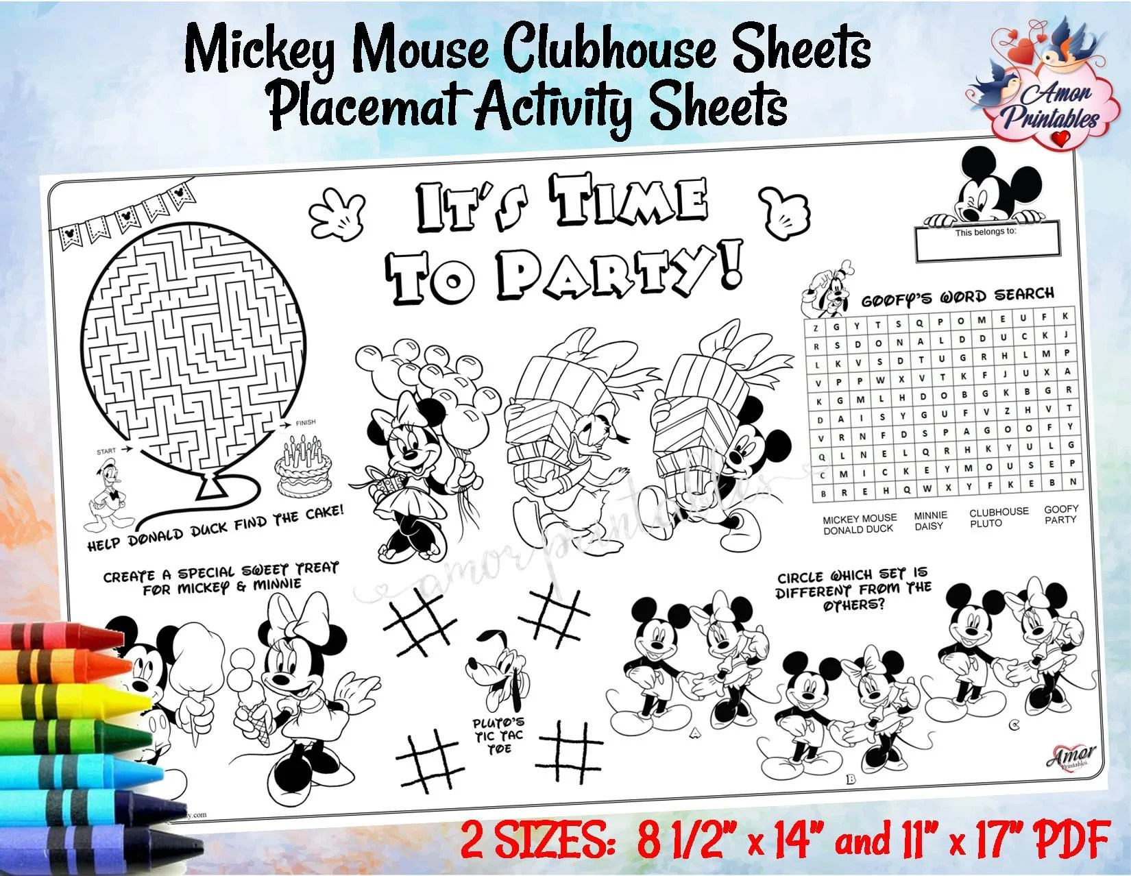 Mickey Mouse Clubhouse Placemat Activity Sheet Birthday