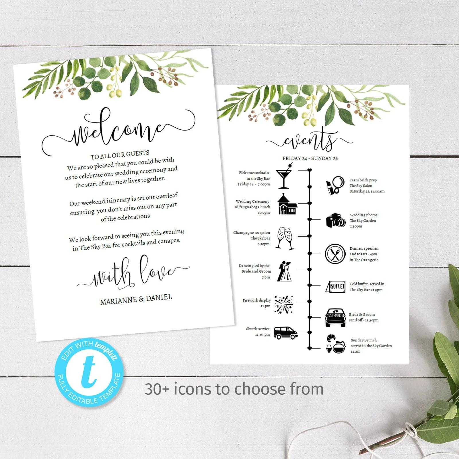 Easily Customised Wedding Weekend Timeline Diy Printable