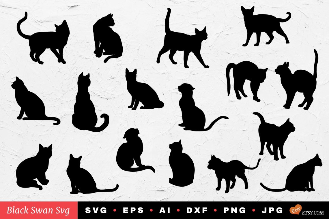 Download SVG cats Love cats silhouette svg dxf eps jpg png | Etsy