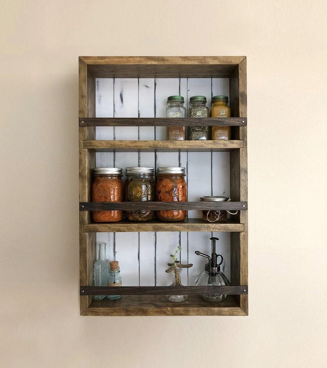 farmhouse spice rack no 3 bathroom shelves wall cabinet etsy