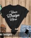 Black T Shirt Mockup Flat Lay Outfit T Shirt Display Mock Etsy