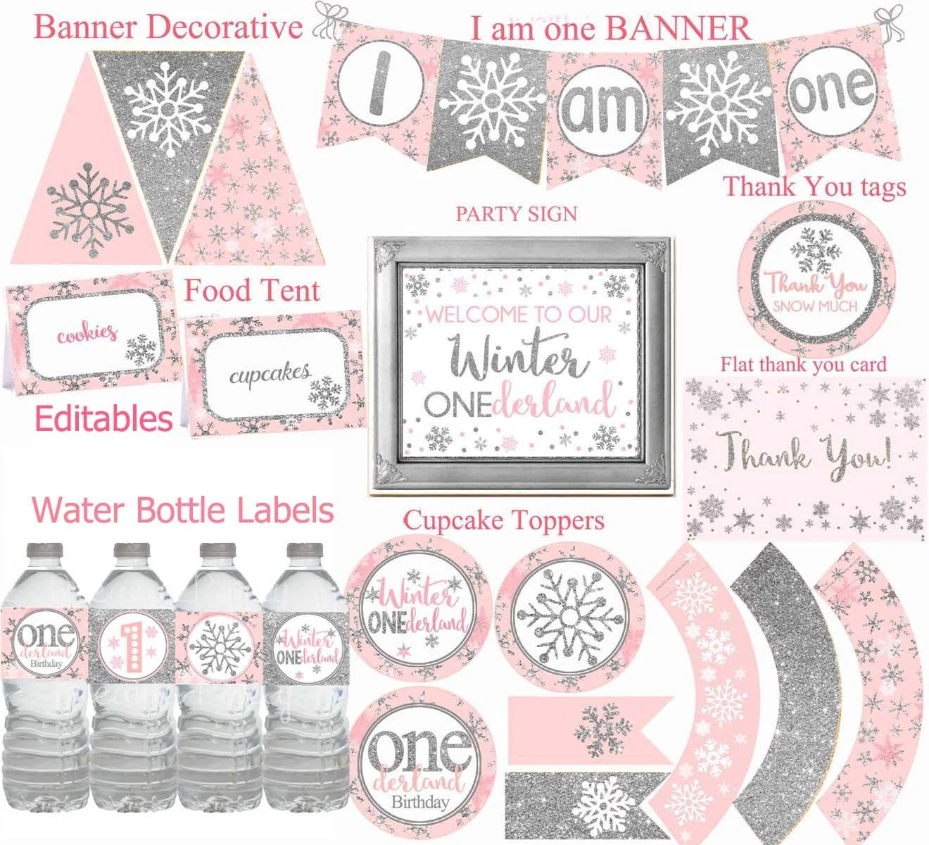 Winter Onederland Party Decorations Pink And Silver Party Etsy