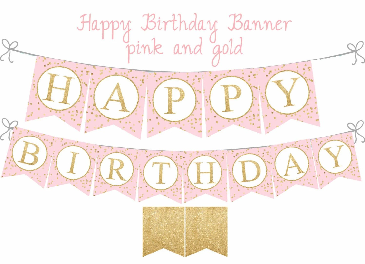 Pink And Gold Happy Birthday Banner Pink And Gold Etsy