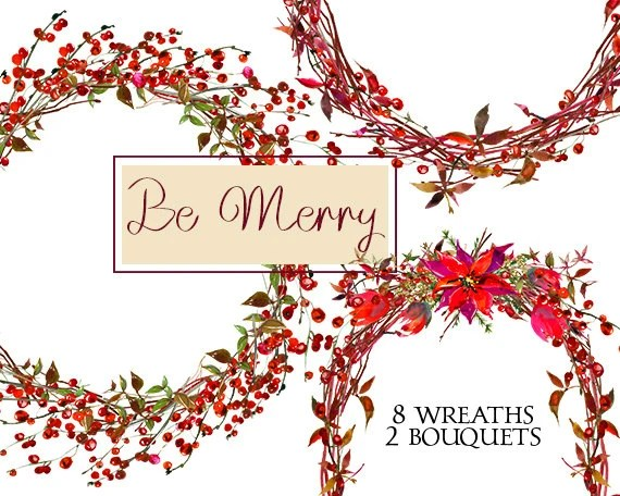 Christmas Wreaths Clipart Watercolor Poinsettia Berries Etsy