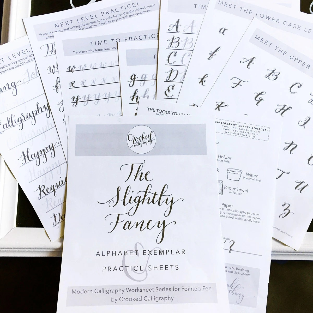 Modern Calligraphy Worksheet Printable Download Slightly
