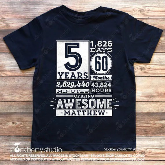 5th Birthday Shirt Boy 5 Years Of Being Awesome Birthday Etsy