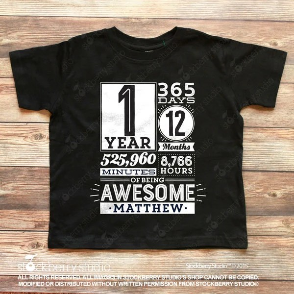 1st Birthday Shirt Boy 1 Year Of Being Awesome Birthday Countdown T Shirt One Year Old Birthday Tshirt Girl First Birthday Gift 1 Year Old By Stockberry Apparel Catch My Party