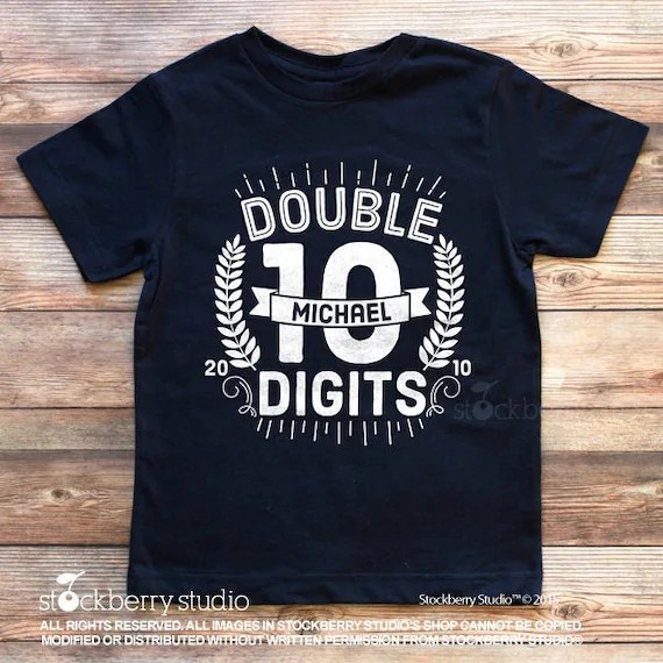 10th Birthday Shirt Boy Double Digits Shirt Girls Girl 10th Etsy