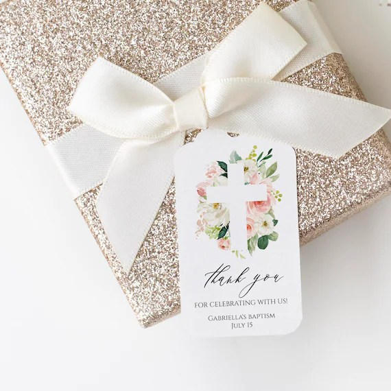Baptism Thank You Tag Template Instant Download 100 Editable Text Printable Baptism Tag Floral Baptism Favor Tag Cross Templett C9