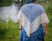 Blue and White Handmade Crochet Wrap Shawl