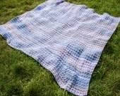 Handmade Crochet Blue Pink Blanket