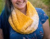 Handmade Yellow and White Ombre Infinity Crochet Scarf