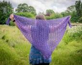 Handmade Crochet Purple Shawl Wrap
