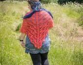 Handmade Crochet Coral Wrap Shawl