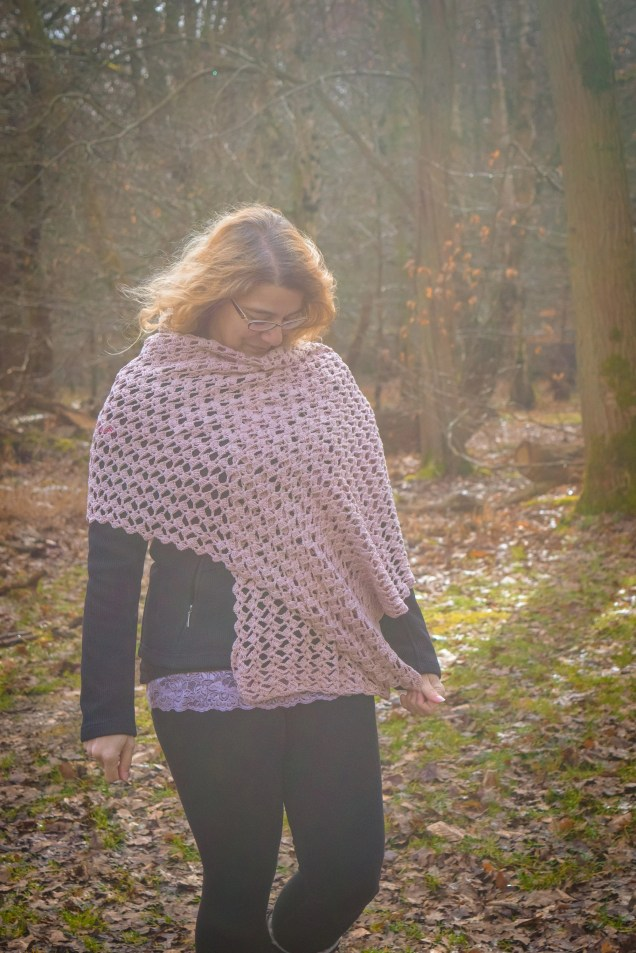 Handmade Pink Crochet Rectangle Scarf Wrap Shawl