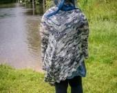 Handmade Grey Multicoloured Crochet Wrap Shawl