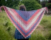 Handmade Crochet Pink and Blue Wrap Shawl