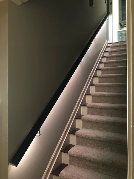 Led Square Flat Wall Mount Modern Stair Hand Rail Staircase Etsy | Bannister Rails For Stairs | Pipe | Build Stair | Deck | Outdoor | 5 Step